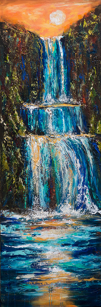 """I really enjoyed working on this painting which I started after I completed the commission for Vicki of an abstract waterfall. I was inspired to explore more possibilities. This is 20x60"""" with lots of texture. I started with a quality gallery wrap canvas and sketched the basic nature scene with a waterfall as central element. Then I put flexible modeling paste with various knives. I kept with the drawing so the details became sculptural. Then I added orange paint to white gesso and coated the plaster and canvas so I had a totally orange surface. After couple more days of drying, I was able to start painting with huge brushes and knives. It evolved daily for another week. I am just about to put the final varnish on it."""